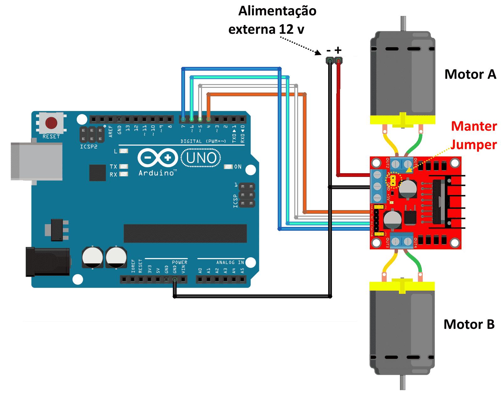 Motor dc com driver ponte h l298n blog filipeflop for H and h motors