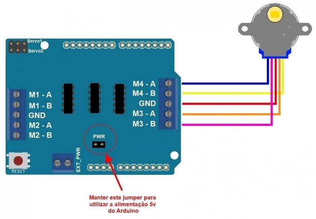 Controlando motor de passo 5V 28BYJ-48 com Arduino Motor Shield L293D