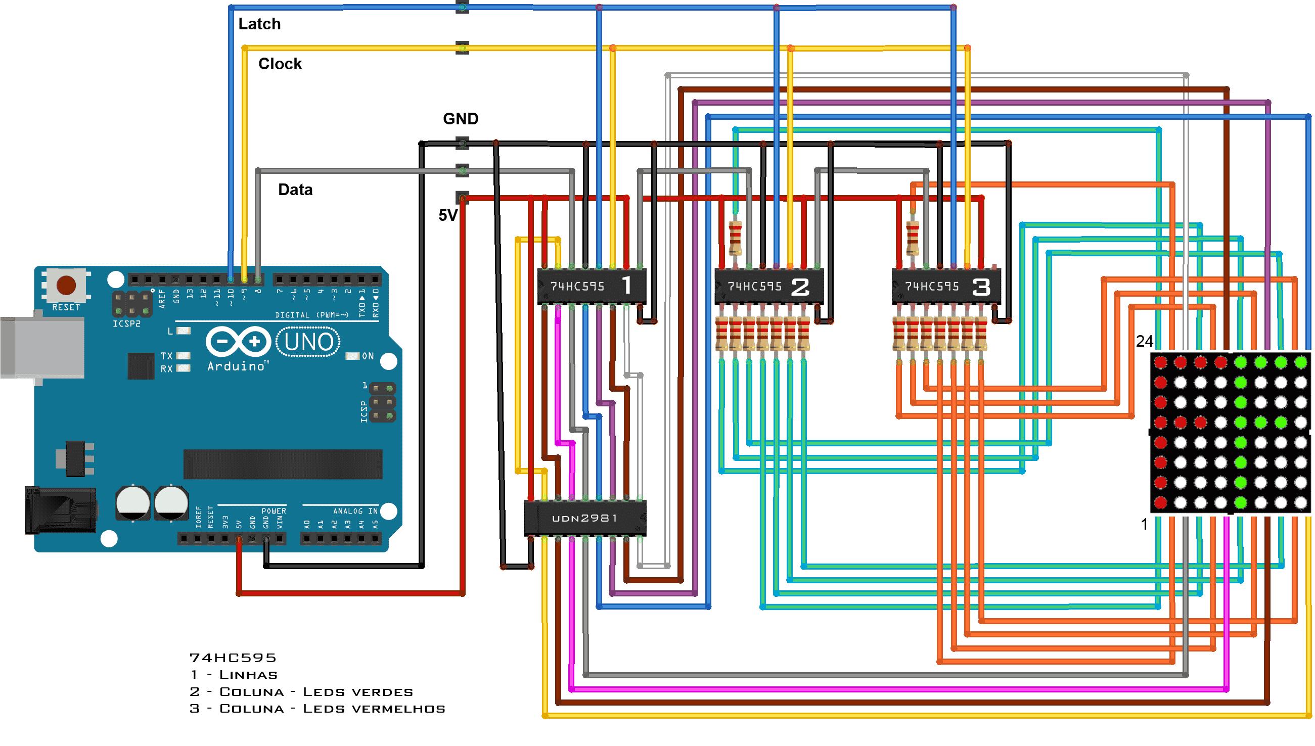 Circuito Matriz de leds 8x8 bicolor com 74HC595