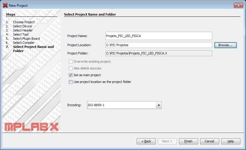 MPLAB - Selecionando Project Name and folder