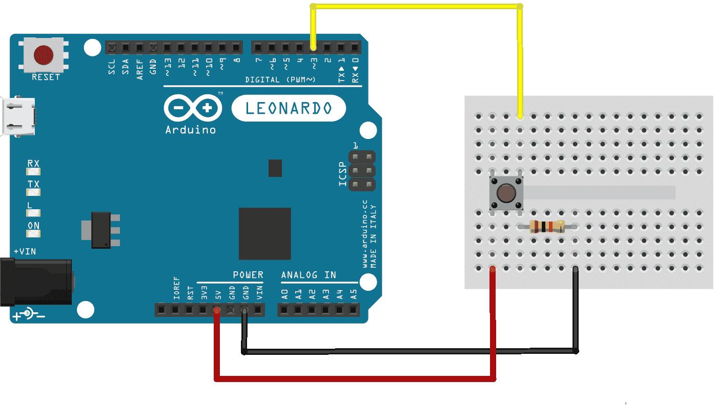 Arduino Leonardo - Circuito push-button teclado