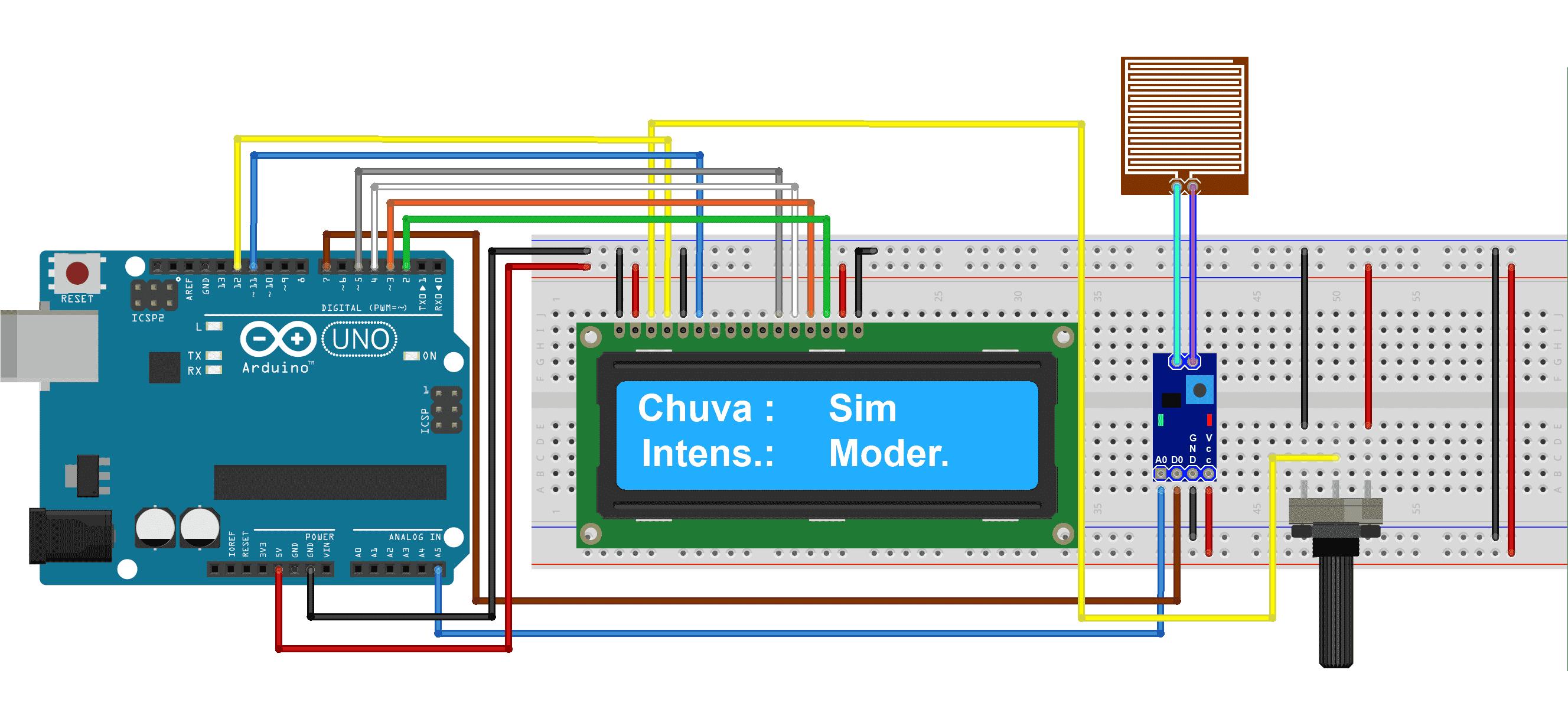 Circuito sensor de chuva e display LCD 16x2