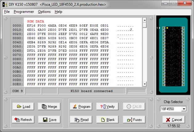 Upgrade de firmware do gravador de PIC K150 para utilização com PIC 18F4550