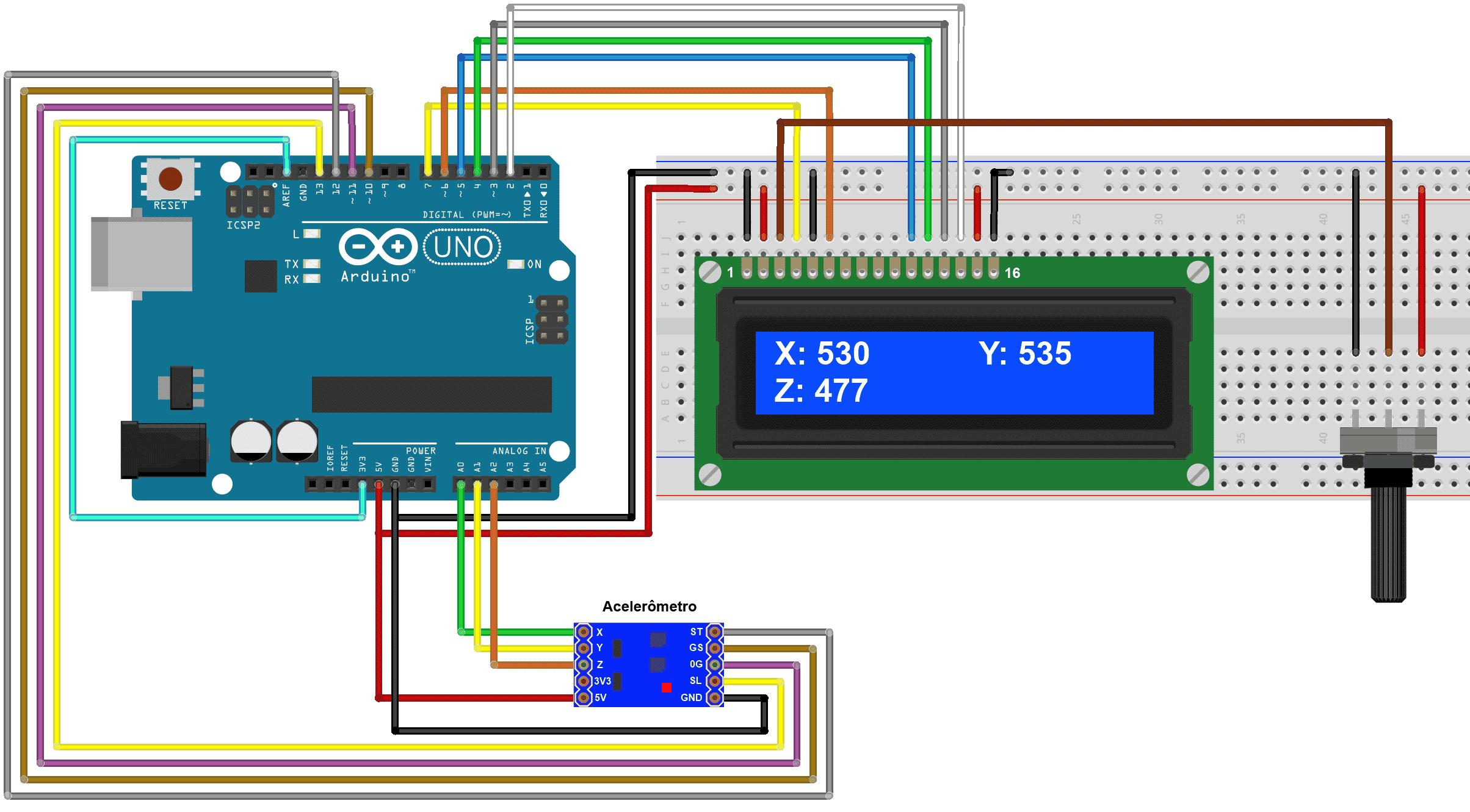 Montagem Acelerômetro MMA7361 com Arduino