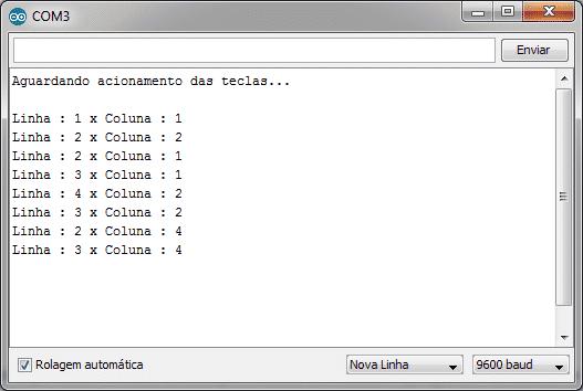 Teclado matricial - Serial monitor
