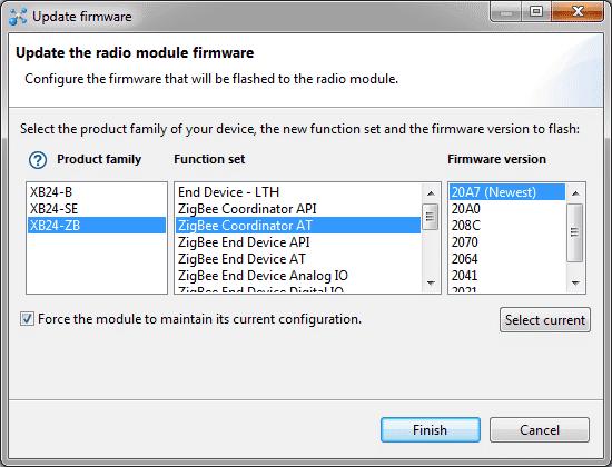 XCTU - Update Firmware Opções