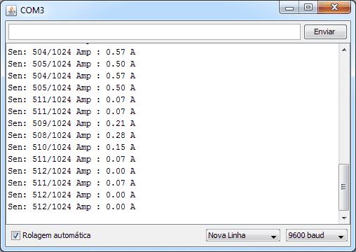 Sensor de corrente - Serial Monitor