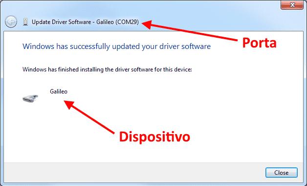 Instalação drivers Galileo