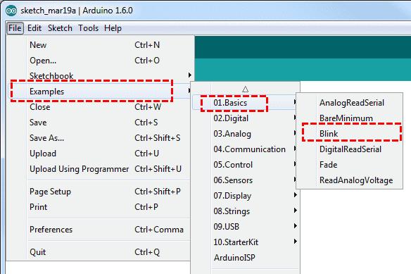 IDE Exemplo Blink