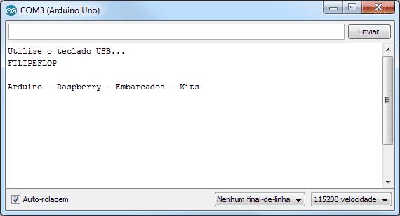 Serial Monitor - Teste teclado