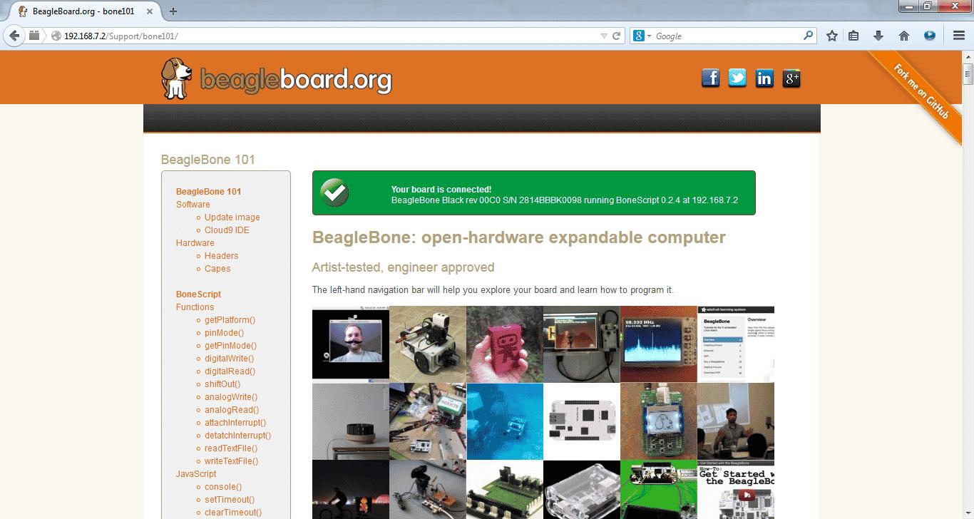 Tela Inicial Beaglebone