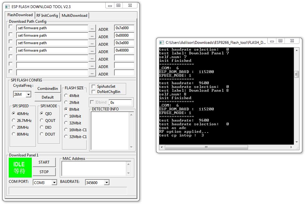 Flash Download Tool - Tela Inicial