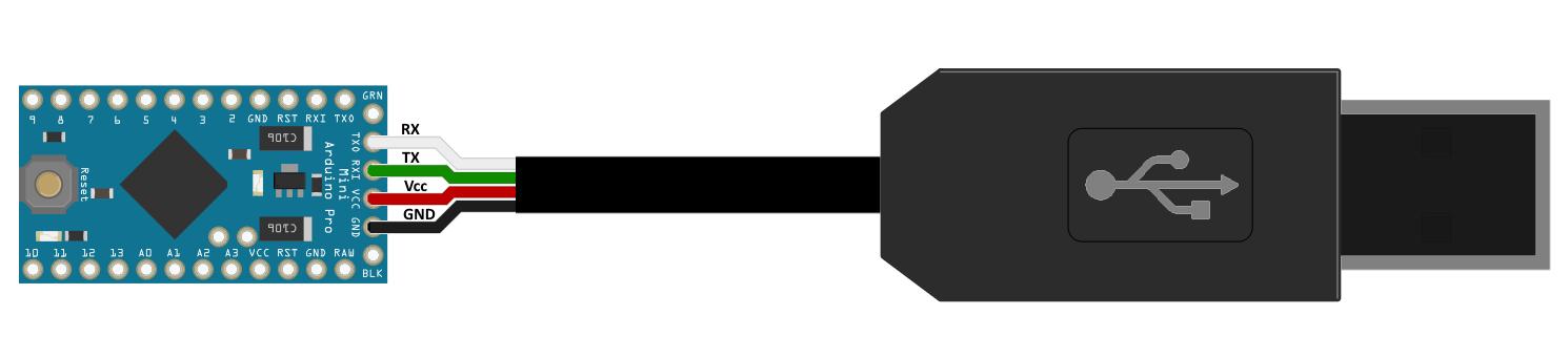 Circuito Arduino Pro Mini e cabo conversor