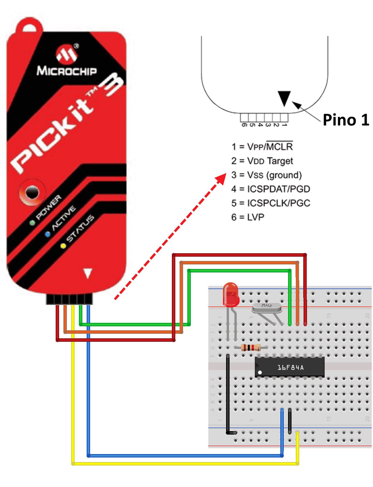 Circuito Pickit3 e PIC16F84A