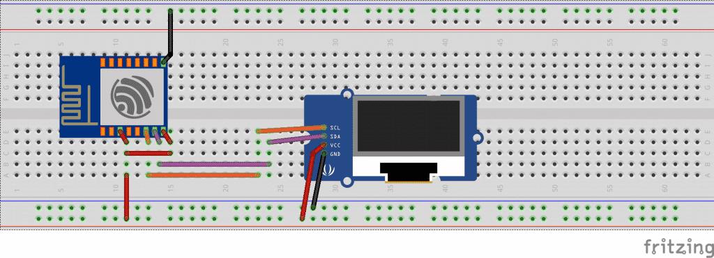 Circuito display Oled e ESP8266