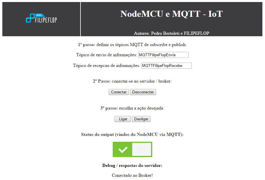 Figura 1 – screenshot da página de controle do NodeMCU