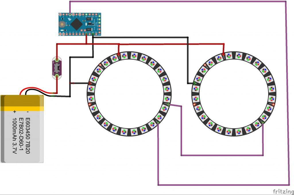 Circuito NeoPixel Glasses