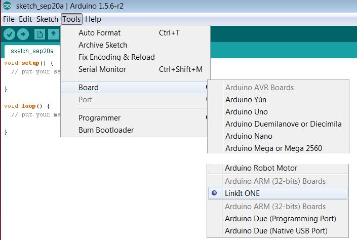 Arduino IDE - LinkIt One