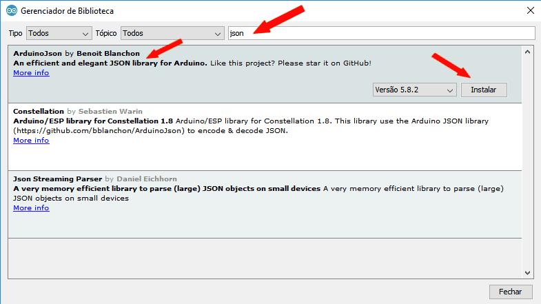 Tela Gerenciador de Bibliotecas IDE Arduino