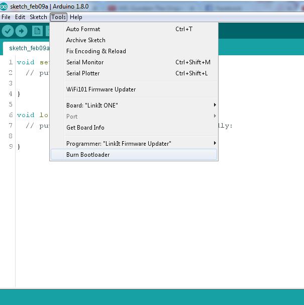 Opção para Gravação do Bootloader da LinkitOne no Arduino IDE