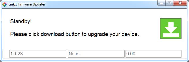 Janela de gravação do Linkit Firmware Updater