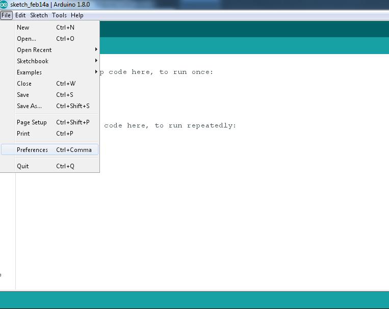 Caminho do menu de Preferences no Arduino IDE