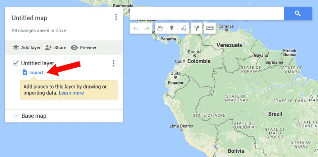 Tela My Maps importar um arquivo CSV