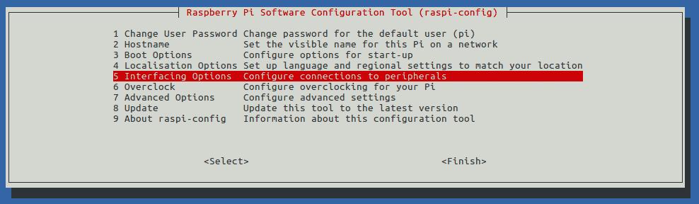 raspi-config Interfacing Options