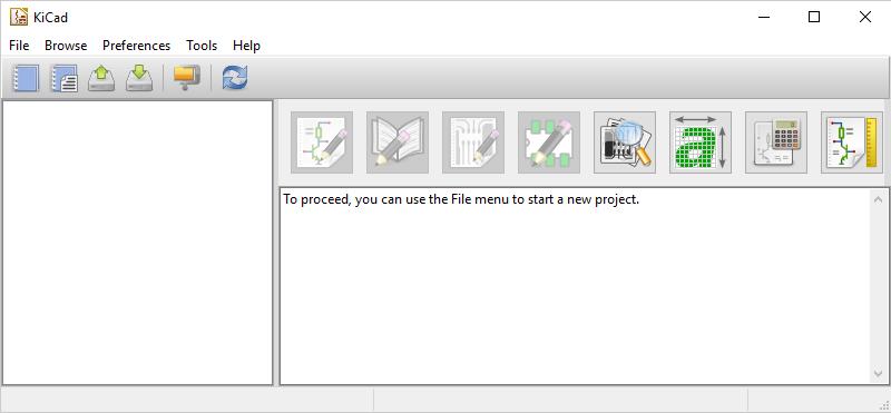 Software KiCad aberto pela primeira vez