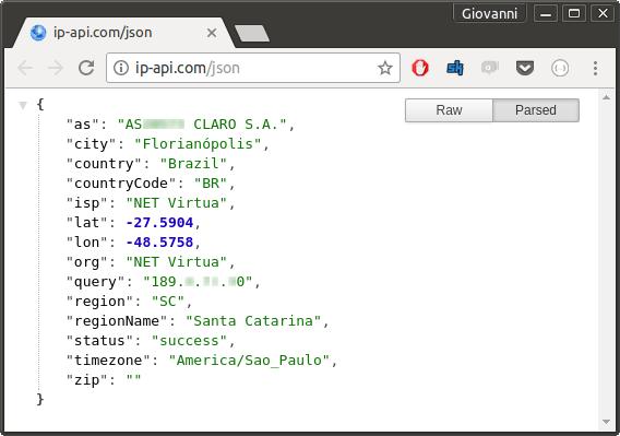 IP API dados Json